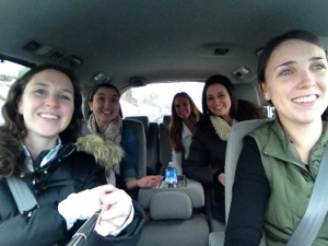 5 beautiful ladies riding in a min van-keep your eyes on the road boyz.