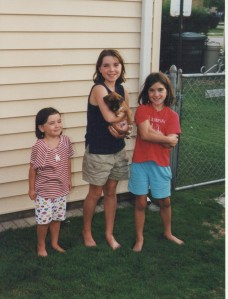 "Oh my God I love the Hanson Brothers! Play ""Mmm Bop"" for us! Oh wait, that's me and 2 of my sisters. I'm the brat with her arms folded. God I wish someone handed us a hair brush"
