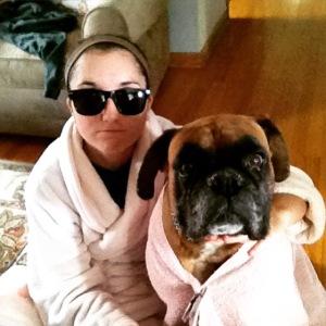 Roommates, siblings, pink robe wearing besties.